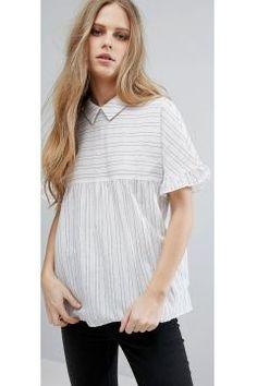 Vila Short Sleeve Striped Smock Blouse - Multi https://modasto.com/vila/kadin-ust-giyim-gomlek-bluz/br27421ct4