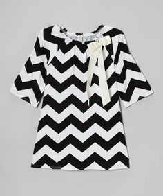 Take a look at this Black & White Zigzag Bow Peasant Dress - Girls by Monteau Girl on #zulily today!