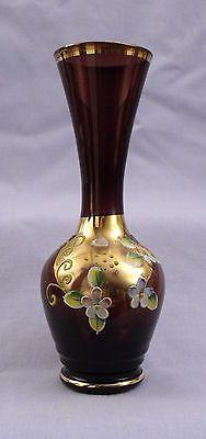 Purple Venetian glass vase - gilded and enamelled