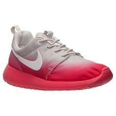 Women's Nike Roshe Run Print Casual Shoes  FinishLine.com   Light Base Grey/White/Geranium