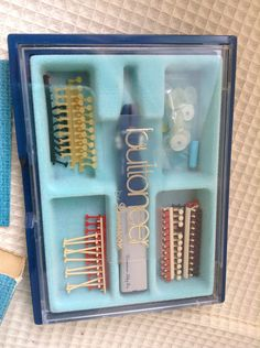 Buttoneer box with supplies. Great addition to any vintage sewing collection. Check out our other vintage sewing items! Vintage Sewing, All Things, Barn, Buy And Sell, Handmade, Stuff To Buy, Etsy, Vintage Couture, Craft