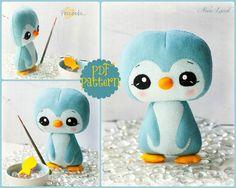 PDF. Penguin. Plush Doll Pattern, Softie Pattern, Soft felt Toy Pattern.