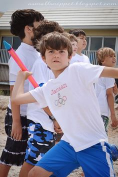 Olympics Party:  Cute ideas for summer games with the kids including shirts, refreshments, and games to play! @Heather Creswell Shealy thought i remember you saying something about watching the Olympics. Wanted to share.
