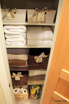 great idea to store sheets in baskets