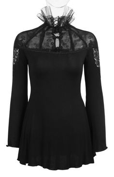 Soleil Noir gothic top by Punk Rave is made from comfortable stretch cotton knit with rose mesh across the chest and upper back. There are pretty lace inserts at the shoulders.