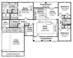 Country Style House Plans - 1751 Square Foot Home , 1 Story, 3 Bedroom and 2 Bath, 2 Garage Stalls by Monster House Plans - Plan 2-164