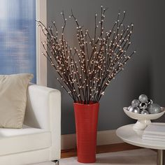 Battery-Powered Pre-Lit Willow Branches from Brookstone. Saved to home collection. Lighted Branches, Willow Branches, Interior And Exterior, Interior Design, My Dream Home, Home And Living, Living Room, Sweet Home, Home And Garden
