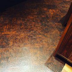 edelman leather crocodile floor tile in antique brown designer bryan flynn - Leather Floor Tile