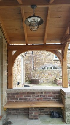 The underside of an oak porch which has been boarded out in oak. Ideal for 'hiding' electric cables for lighting etc. The underside of an oak porch which has been boarded out in oak. Ideal for 'hiding' electric cables for lighting etc. Front Porch Seating, Front Door Porch, Front Porch Design, Porch Oak, Porch Wooden, Porch Entrance, Oak Front Door, Summer Front Porches, Summer Porch