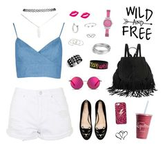 A fashion look from August 2015 featuring blue chambray shirt, heart t shirt and white ripped shorts. Browse and shop related looks. Vanessa Mooney, Matthew Williamson, Wild And Free, Charlotte Olympia, Wet Seal, Bling Jewelry, Casetify, Boohoo, Polyvore Fashion