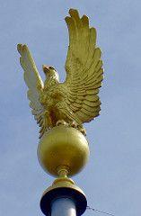 Gold eagle atop pole