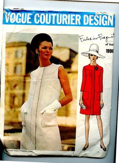 1960s Dress Vogue Couturier Pattern 1990 by F Forquet Semi-Fitted Dress has Yoke, Sleeve Variations Vintage Sewing Pattern Sz 16 B 38