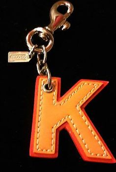 COACH Leather Initial Alphabet Letter K Key Chain Keychain Charm Ring Clip!