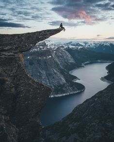 """Fearless selfie at Trolltunga. The hike to the famous """"Troll Tongue"""" was changeling but the view was worth it. Photo b Oh The Places You'll Go, Places To Travel, Places To Visit, Nature Photography, Travel Photography, Destinations, Surfer Girls, Destination Voyage, Photos Voyages"""