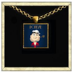 Popeye  Handmade pendant bezel with glass tile by IttyBaubles, $13.95