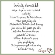 image 60th birthday survival kit - Google Search