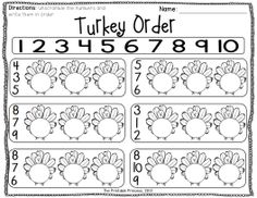 Turkey number order... Includes numbers to 10 and numbers 11-20.