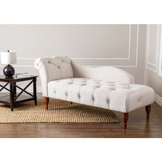 ABBYSON LIVING 'Audrey' Ivory Velvet Tufted Chaise - Overstock Shopping - Great Deals on Abbyson Living Living Room Chairs