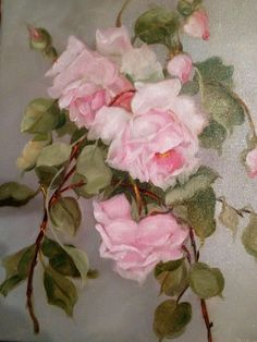BARNES OIL PAINTING KLEIN PINK ROSES VINTAGE ANTIQUE STYLE SHABBY STILL LIFE BUD | eBay