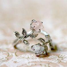 """c0llar-bones: """"Labradorite and Rose Quartz Stone Ring """""""