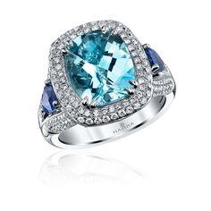 4.06ct Cushion Cut Aquamarine, Sapphire & Diamond Ring