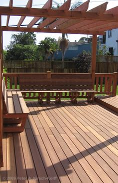Pergola on deck with built-in seating