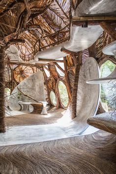 conceived by the grandson of peggy guggenheim, IK LAB, a contemporary art gallery that recently opened in tulum, mexico, promises to transcend the traditional confines of the art museum. the gallery is experienced in part by your feet and through the various materials encountered as visitors navigate the immersive treehouse-like structure.