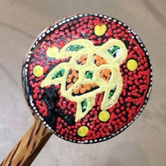 clacking away with this aboriginal clacker 🎶 instrument, available at Canada Trading Company with many designs to choose from. .  .  .  .  #music #clackers #instrument #souvenir #gift #aboriginal #fun #toys #native #shopping #cliftonhill #niagarafalls #canada #turtle