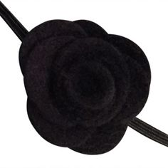 FUN 3-D Felt Rose Skinny Elastic Headband. Perfect for newborn and baby, but can be sized for older girls. Black.