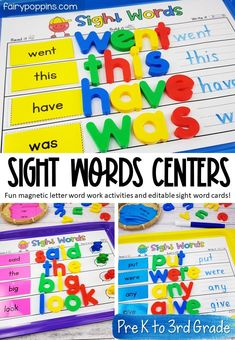 These sight words magnetic letter activities help kids learn to spell sight words in a hands on way. They're a perfect addition to literacy centers in Kindergarten, First Grade, Second Grade or Third Grade. #sightwords #sightwordcenters #literacycenters #highfrequencywords #dolchactivities #kindergartenliteracy #firstgradeliteracy #secondgradeliteracy #thirdgradeliteracy #wordwork #spellingactivities #sightwordactivities #magneticletters Early Learning Activities, Spelling Activities, Sight Word Activities, Literacy Activities, Literacy Centers, Kids Learning, Activities For Kids, Letter Activities, Sight Word Centers