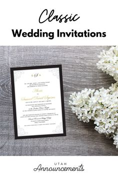 This invitation design completes the classic vibe of your wedding. This is a simple design with touches of gold and lace for that added elegance. Classic Wedding Invitations, Touch Of Gold, Wedding Announcements, Flourish, Invitation Design, Swirls, Simple Designs, Place Card Holders, Simple Drawings