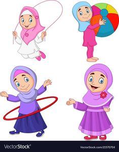 Cartoon muslim girls with different hobbies Vector Image