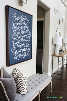 Love this beautiful entryway and Doxology canvas - Christmas 2014 Home Tour - Life On Virginia Street