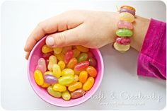 Candy bracelets.  To make these use a sharp needle, some elastic thread (that you use for beads for example) and jelly beans. Incredibly easy - children will be delighted.