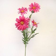 This artificial Daisy flower spray with bright pink petals is as realistic as the real thing. It measures from top to bottom (includes of leaves and white flowers, bare stem). Flower Spray, Pink Petals, Pink Daisy, Artificial Plants, Daisies, Make You Smile, Bright Pink, White Flowers, Leaves