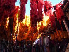 Lanas recién teñidas secándose al sol. Marruecos