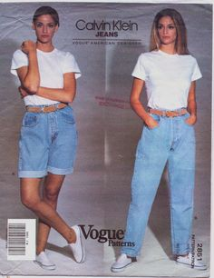 1990s Calvin Klein Vogue American Designer Sewing Pattern 2851 Womens Shorts & Jeans Size 8 10 Hip Hip 36 37 UnCut