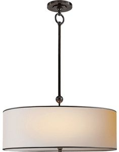 Visual Comfort Pendant Fixture - Bronze with Natural Paper Shade with Black Tape Finish