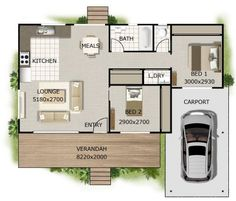 Granny pods floor plans 2 bedroom + Carport Home design Small Cottage Plans, Cottage Floor Plans, House Floor Plans, House Plans For Sale, Modern House Plans, Small House Plans, Plan Duplex, Granny Flat Plans, Granny Pods