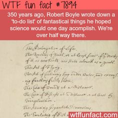 "Robert Boyle's ""To do list"" - WTF fun facts"