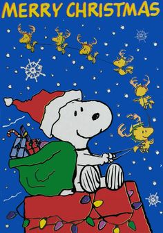 merry christmas woodstock and friends as reindeer pulling santa snoopy with his sack of gifts while riding on his doghouse sleigh - Snoopy Merry Christmas Images