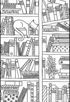 Find Hand Drawn Bookshelf Sleeping Cat Black stock images in HD and millions of other royalty-free stock photos, illustrations and vectors in the Shutterstock collection. Coloring Book Pages, Coloring Sheets, Embroidery Patterns, Quilt Patterns, Buch Design, Zentangle Drawings, Book Quilt, Printable Coloring, Doodle Art
