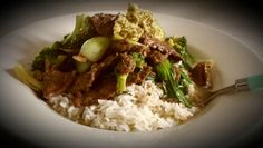 Beef stirfry with bokchoi and brocolli qith rice