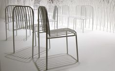 A series of stackable furniture consisting of a chair, a lounge chair and a sofa, in powder coated steel, in white, black, green, pastel green or orange. The chair softly bends one part of a set of evenly-spaced steel pipes to create the curve of the seat. The curve was carefully designed to visually soften the hard and cold look of metal furniture. Designer Nendo is Guest of Honour at Stockholm Furniture Fair 2013. Berga.