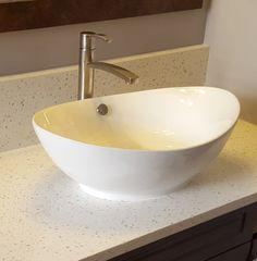 BV105 - White Scoop Top Oval Vessel Sink (mounted on Iced White quartz countertop)