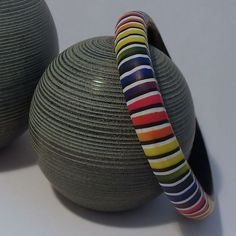 Rainbow Stripe Bangle in Polymer Clay