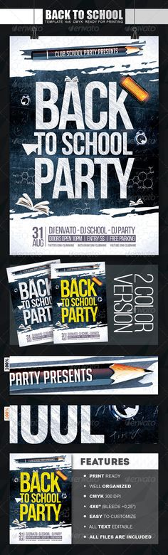 Back To School Party Flyer PSD Template | Buy and Download: http://graphicriver.net/item/back-to-school-party-flyer/8337173?WT.ac=category_thumb&WT.z_author=Zular&ref=ksioks