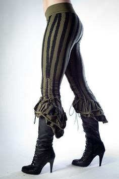 Steampunk Victoriana Sage Striped Ruffle Capris by PhoenixLanding, $130.00