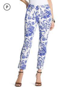 Chico's Women's Petite Blossom Girlfriend Crop Jeans