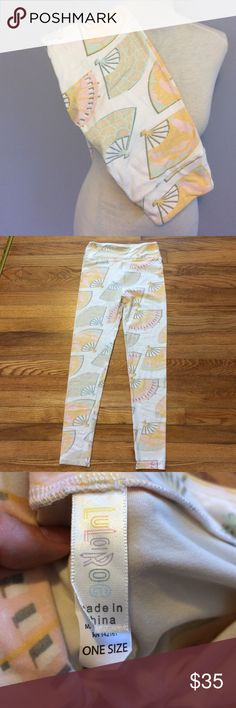 NWT Lularoe OS Pastel Fans Leggings New with tags! One size. Made in China. LuLaRoe Pants Leggings